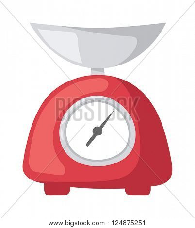 Vector illustration red weight kitchen scales measurement domestic appliance.