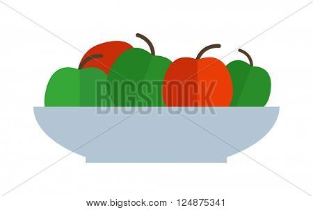 Fresh green red apples plate healthy fresh organic food flat vector illustration.