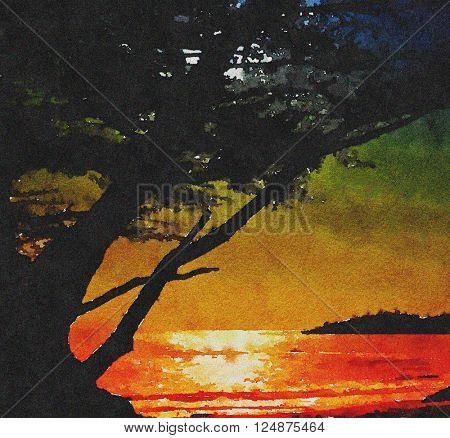 Beautiful Painting Of the Moonrise at Carmel Beach