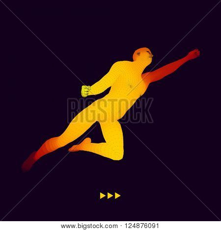 Jump Man. 3D Model of Man. Business, Science and Technology Vector Illustration.