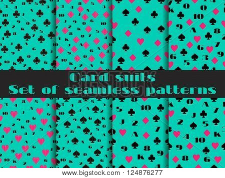 Set Of Seamless Patterns With Playing Cards Suits. Numerals Cards. Vector.