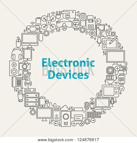 Electronic Devices Line Art Icons Set Circle