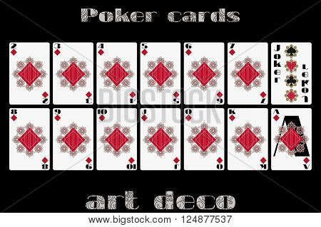 Playing Cards Diamond Suit. Poker Cards In The Art Deco Style. Vector.
