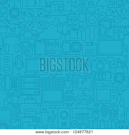 Thin Line Blue Electronic Gadgets Seamless Pattern