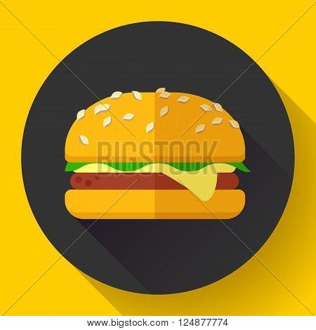 hamburger icon with long shadow. Flat design style