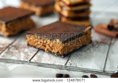 Few delicious chocolate cakes, closeup
