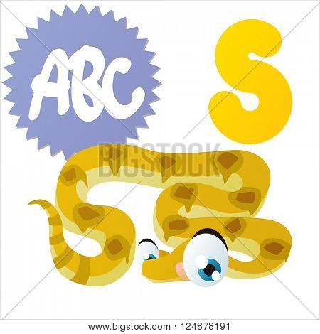 Super funny extra cute animal kids. Animal ABC series. Collectible collection for children games. Letter S  is for Snake