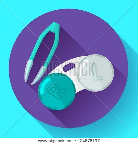 Contact lens case. Container and tweezers, for contact lenses  Flat icon with long shadow