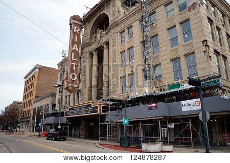 JOLIET, ILLINOIS / UNITED STATES - APRIL 12, 2015: The historic Reuben's Rialto Square Theater offers performances in downtown Joliet.