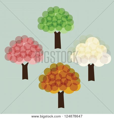 Tree with 4 season color pink green orange and white illuminate style vector illustrations concept