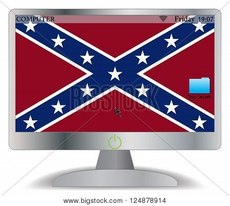 A Confederate computer screen with an on button isolated on a white background