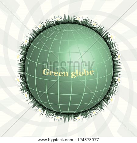 Ggreen Planet, Green Globe, Eco design, Pure Land. Abctract design.