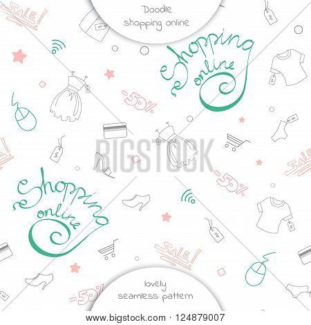 The seamless pattern of online shopping with Lettering shopping online and doodle purchases. Lettering shopping online on a white background . Vector illustration of online shopping