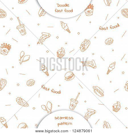 Seamless Pattern With Hand Drawn Fast Food.