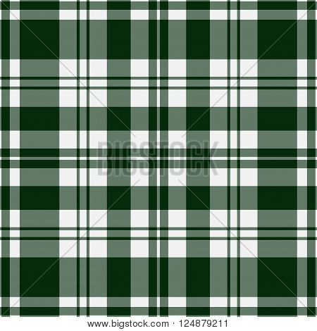 seamless illustration - tartan with dark green stripes and squares