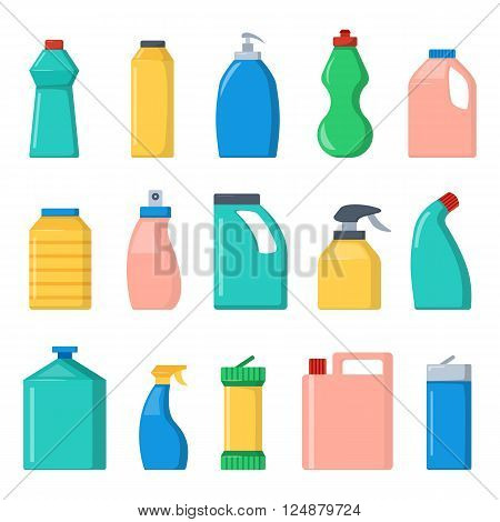 Set of color cosmetic bottle template and cap container design bottle template. Bottle template plastic package. Blank package container dummy collection bottle template flat vector illustration.