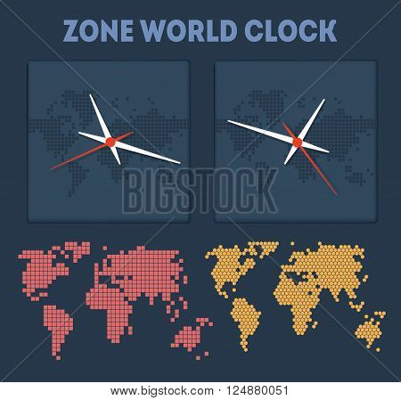 Zone World time with maps and clocks