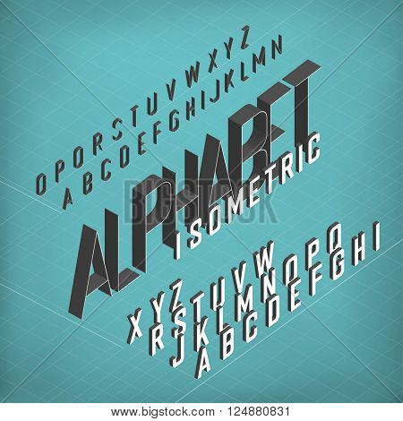 Isometric Alphabet. Blueprint abstract background. Two weights - bold and thin.