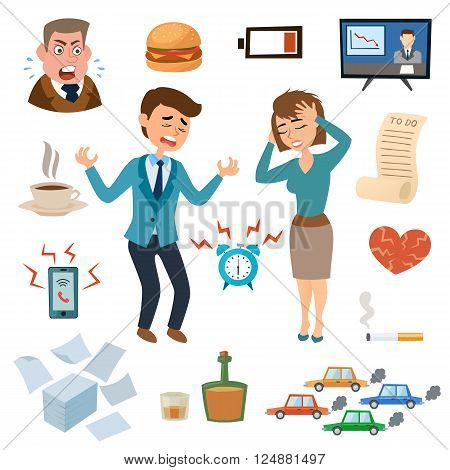Stress people adult sad and problem stressed people. Stress people frustration overworked worried. Stress people pressure workplace tired unhappy adult sad problem frustration set vector illustration.