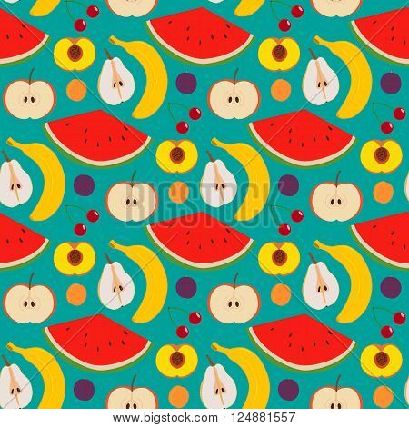 Fruits and berries seamless pattern. Illustration of some fruits and berries in seamless pattern