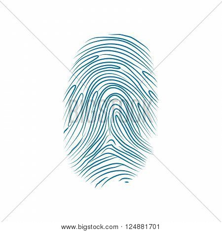 Imprint of the thumb of the human hand isolated on white