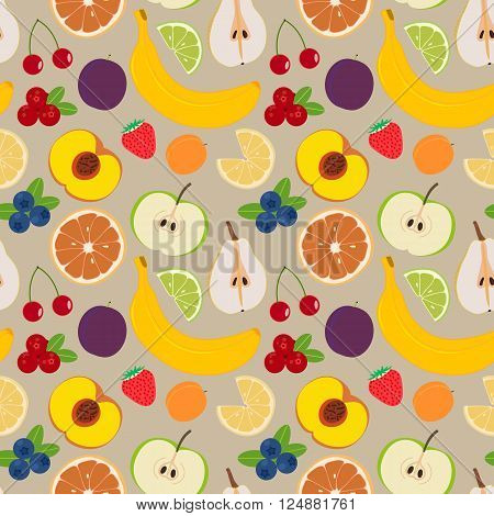 Fruits and berries seamless pattern 3. Illustration of some fruits citruses and berries