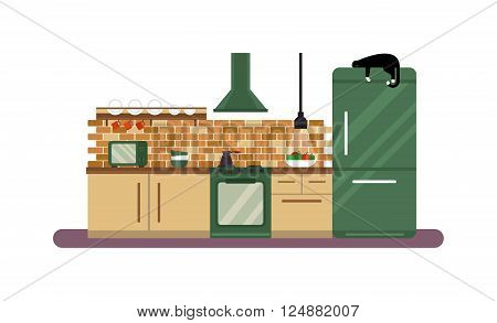 Kitchen room design and home architecture luxury apartment kitchen design. Kitchen design apartment decor. Horizontal view of modern furniture luxury kitchen design interior flat vector illustration.