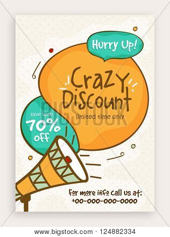 Crazy Discount, Sale Poster, Sale Banner, Sale Flyer, Save upto 70% for Limited Time, Vector illustration.