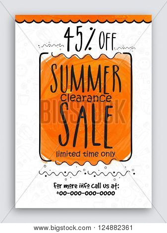 Summer Sale Poster, Sale Banner, Sale Flyer, 45% Discount Offer for Limited Time, Vector illustration.