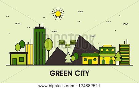 Green City eco technology, sustainability of local environment, town ecology saving web banner, hero image, website slider. Line art vector illustration.