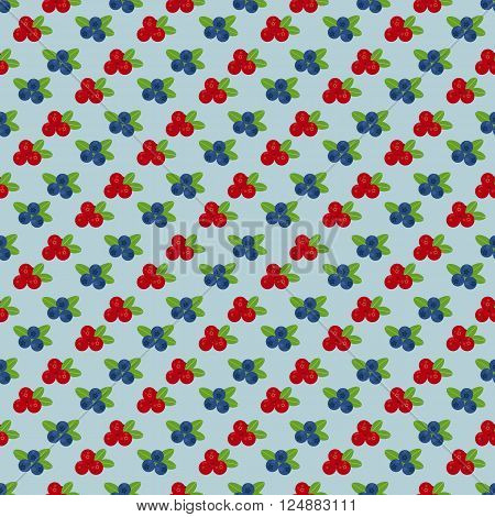 Cranberry and blueberry seamless pattern 4. Or illustration of cowberry and blackberry. Berries seamless pattern.