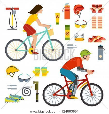 Happy summer people on bicycles, activity fun people on bicycles. Urban female biking sport and bike element. People on bicycles riders man and woman lifestyle cycling sport flat vector illustration.