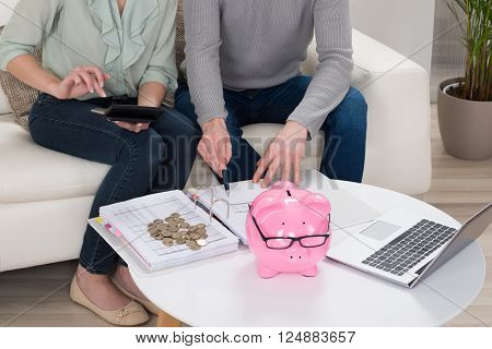 Close-up Of Couple Sitting On Sofa Calculating Bills At Home