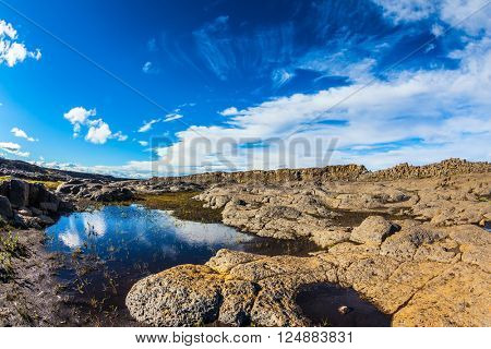 Picturesque small puddle in which is reflected the blue sky. Iceland, Jokulsargljufur National Park. Photo taken fisheye lens