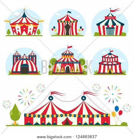 cartoon circus tent with stripes and flags carnival entertainment amusement lelements flat vector. Circus tents entertainment, amusement circus red tents. Carnival circus tents park arena celebration.