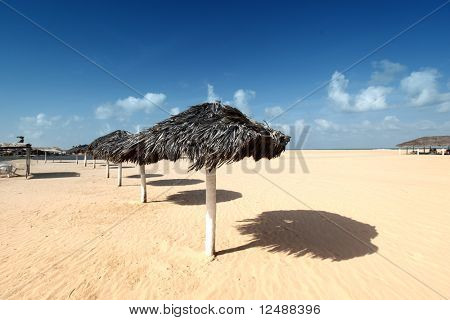 umbrella in desert under blue sky