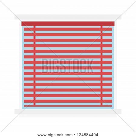 Window jalousie shutter background curtain blinds interior flat vector illustration. Jalousie louvers design and red jalousie curtain sign. Office horizontal jalousie striped shape geometric blind.