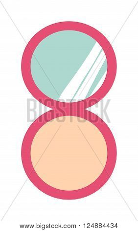 Mirror with powder beautiful and elegant mirror powder. Style compact powder cosmetology foundation. Makeup compact face powder with mirror fashion beauty female care skin flat vector illustration.