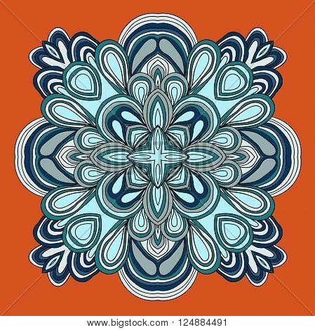 Round symmetrical pattern in blue colors. Mandala. Kaleidoscopic design.