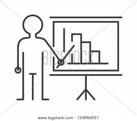 Presentation sign teacher icon man standing with pointer line vector illustration. Blank diagram billboard symbol teacher icon and school presentation teacher icon. Learning board university pointer.