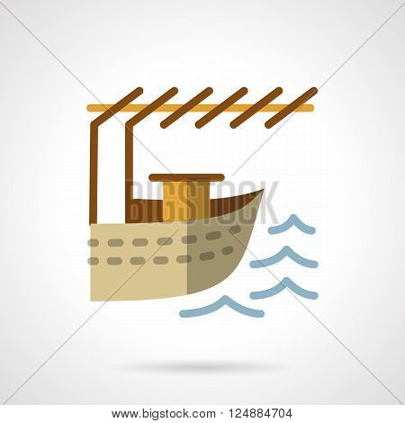 Water transportation vessels. Jetty for boat. Fishing, sea resort. Flat color style vector icon. Web design element for site, mobile and business.
