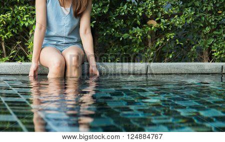 Girl Sit On Pool Edge