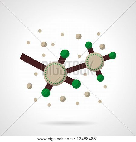 Two abstract carbone molecules or radicals. Chemistry research. Biology. Education and science. Flat color style vector icon. Web design element for site, mobile and business.