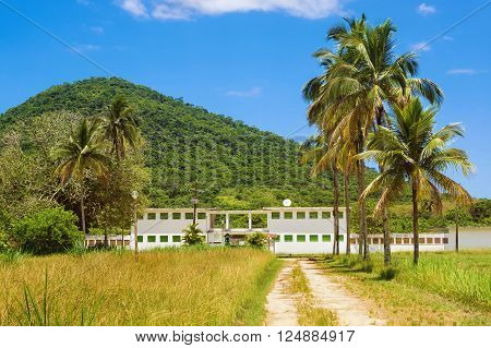 Ilha Grande, Brazil - February 12, 2016: View of old prison at Dois Rios village in Ilha Grande, Rio de Janeiro, Brazil, now a museum and popular tourist attraction on the island.