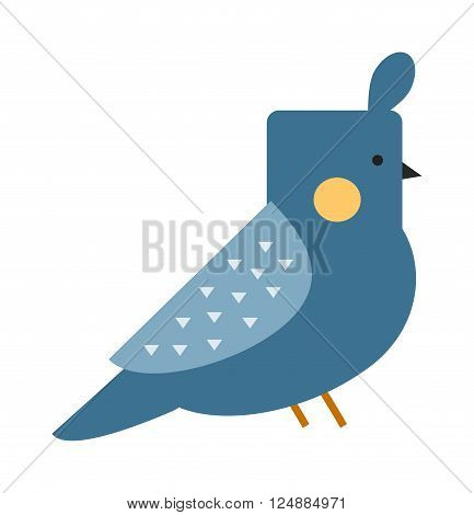 Blue funny canary serinus canaria cute domestic finch nature and wildlife bird flat vector