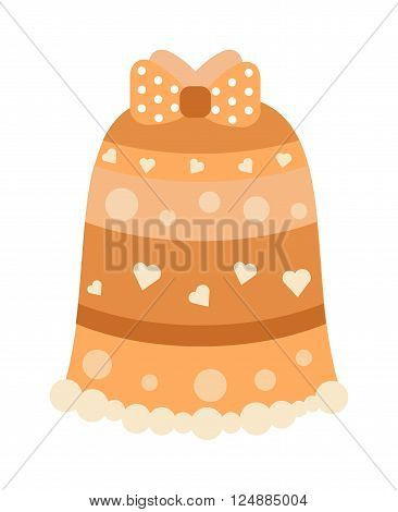 Orange abstract pattern fashion female skirt model young clothes cartoon flat vector.
