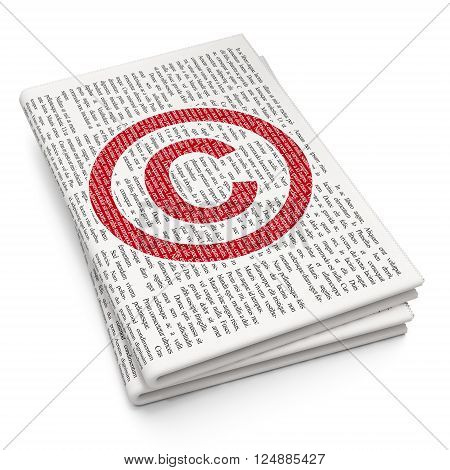 Law concept: Copyright on Newspaper background