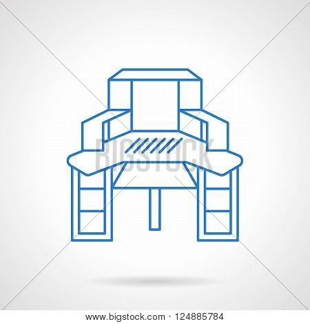 Furniture objects. Table with shelves for sewing and hobbies. Desk for home of workshop. Flat blue line style vector icon. Single design element for website, business.