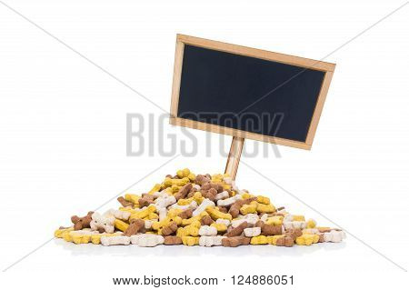 Mound Of Pet Food And Placard