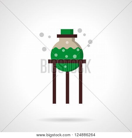 Rack with bulb with green chemical solution. Biology and chemical laboratory. Education and science. Flat color style vector icon. Web design element for site, mobile and business.